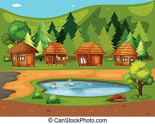Huts - Illustration of many huts by the pond