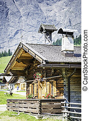 Huts in the Austrian Alps at a place called Hinterriss, Eng...