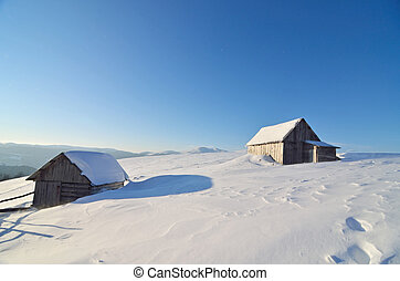 Huts in the snow