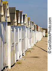 huts on the beach, Bernieres-s-Mer, Normandy, France