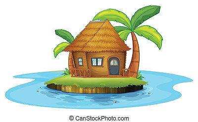 hutte, île, petit, nipa