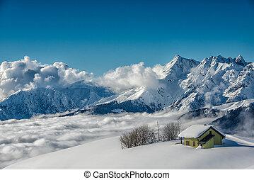 hutte, alpin, neige