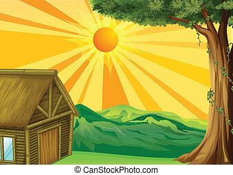 hutte, coucher soleil, nipa