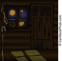 hutte, effrayant, nuit