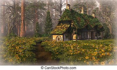 hutte, forêt, bord, cg, 3d