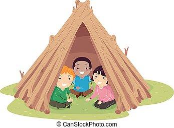 hutte, gosses, stickman, crosse, illustration