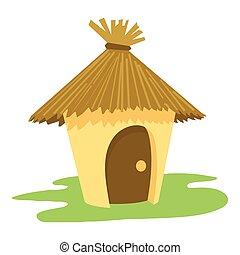 hutte, icône, style, dessin animé