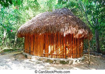 hutte, maya, riviera, palapa, traditionnel, cabine