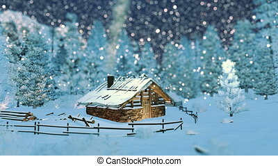 hutte, montagnes, confortable, chute neige