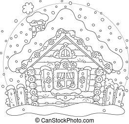 hutte, neige, bûche