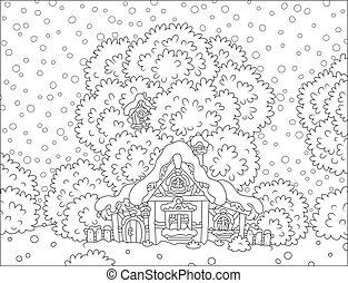 hutte, neige-couvert, bûche, noël