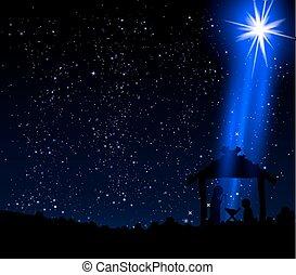 hutte, noël, étoile, christ, jésus