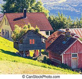 huttes, dans, norvège, montagnes