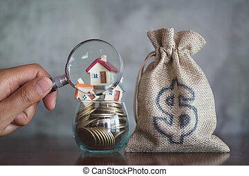 huur, housing., muntstukken., concept, woning, geld., grondig, hypotheek, glas, glas, bouwsector, vergroten