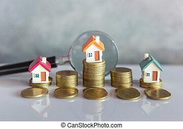 huur, huisvesting, miniatuur, woning, concept., grondig, keuze, glas, munt, plaats, hypotheek, bouwsector, vergroten