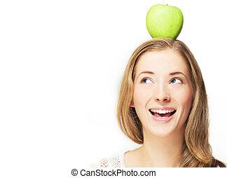 huvud, äpple, henne