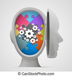 huvud, öppna, problem, utrustar