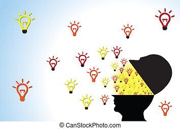 huvud, öppnat, visande, idéer, utanför, flytande, människa