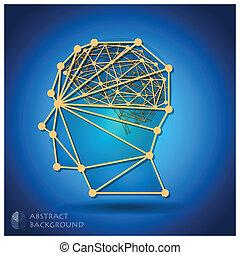 huvud, abstrakt, hjärna, form, bakgrund, geometrisk