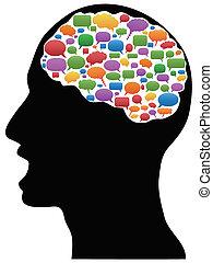 huvud, anförande, bubblar