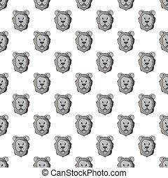 huvud av, a, lejon, seamless, mönster