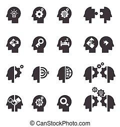 huvud, begrepp, ikon