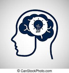huvud, begrepp,  media, kreativitet, hjärna,  social