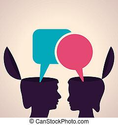 huvud, bubbla, meddelande, mänsklig