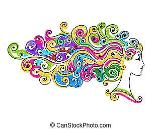 huvud, färgrik, frisyr, sammandrag formge, kvinnlig, din