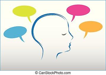 huvud, folk, tänkande, vektor, anförande, logo, bubblar, prata