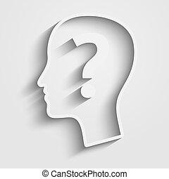 huvud, fråga, mänsklig