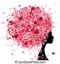 huvud, gjord, frisyr, pytteliten, design, kvinnlig, hjärtan...