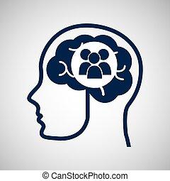 huvud, grupp, begrepp,  media, hjärna,  social