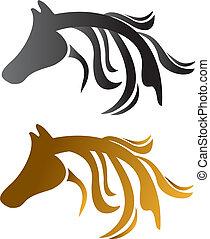huvud, hästar, svart, brun