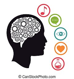 huvud, hjärna, knowlegdge, social, media