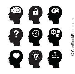 huvud, hjärna, vecotr, ikonen, sätta