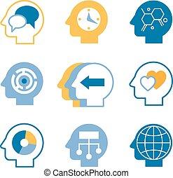 huvud, hjärna, vektor, ikonen