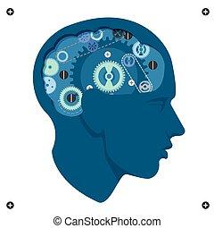 huvud, hjärna, vektor, mekanism, utrustar, fantastiskt