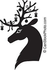 huvud, hjort, jul