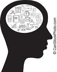 huvud, idé, affär