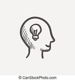 huvud, ikon, skiss, mänsklig, idé