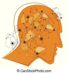 huvud, illustration., färg, concept., hjärna, vektor