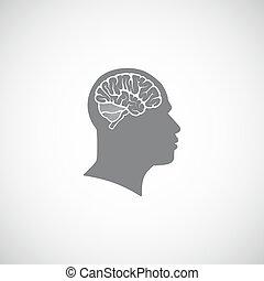 huvud, illustration, hjärna, vektor, mänsklig