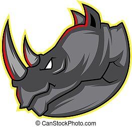 huvud, illustration, noshörningen, vektor, bakgrund, vit