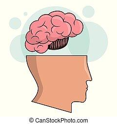 huvud, intelligens, avbild, hjärna, mänsklig, minne