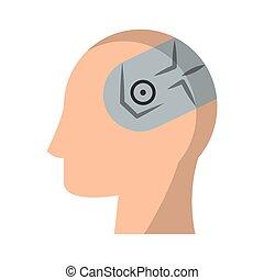 huvud, intelligens, illustration, hjärna, vektor, konstgjort, mänsklig
