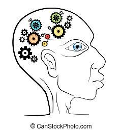 huvud, kuggar, abstrakt, -, vektor, utrustar, mänsklig
