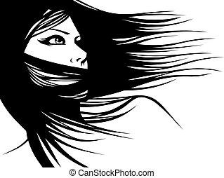 huvud, kvinna, frisör, deras, hår, vector), (hair