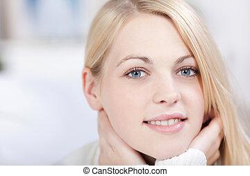 huvud, kvinna, skott, ung, blond, le