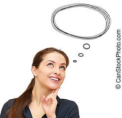 huvud, kvinna tänkande, isolerat, anförande, ovanför, vit, bubbla